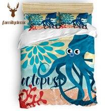 FamilyDecor DHL Free Shipping Marine Life Octopus Quilt Cover Bedding 4 Pcs Bedding Sets Duvet Cover Sets California King Black
