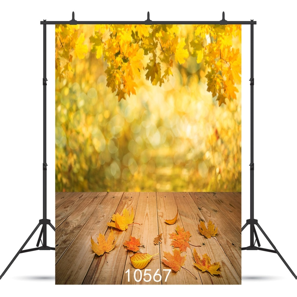 Autumn Yellow Leaves Wooden Floor Vinyl Photographic Background For Portrait Child Baby Shower Backdrop Photocall Shoot Studio