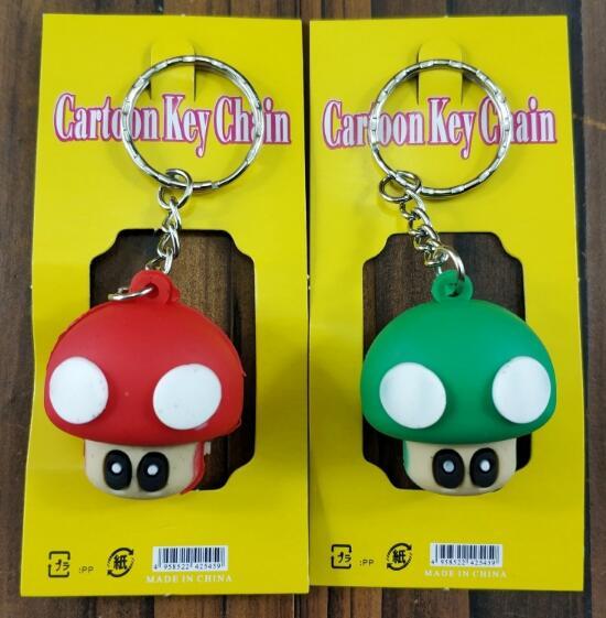 Envío Gratis 5 conjuntos (12 unids/set) Super Mario cabeza de hongo 3D llavero de PVC llavero de dibujos animados bolsa colgante para el mejor regalo