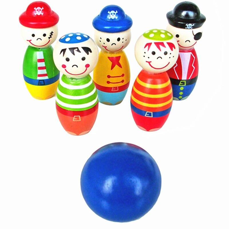 Juguetes para bebés, juego de bolos de cartón, Mini juego de 5 botellas + 1 Bola de juguetes deportivos de Madera, ejercitar la capacidad de mano del bebé, regalo educativo