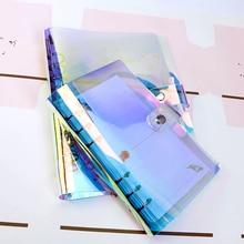 A5 A6 A7 PVC arc-en-ciel laser Transparent cahier journal couverture paillettes feuilles mobiles carnet de notes planificateur pince fournitures de bureau