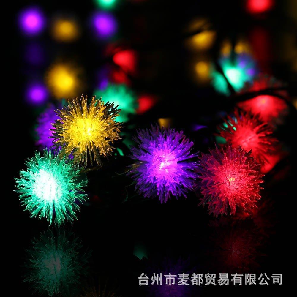 Solar Light String 20LED Furry Ball String Light Garden Garden Decoration Garden Decoration Christmas Day Lantern