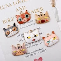 10pcs 2025mm fashion cat enamel charms handmade metal charm fit diy necklace bracelet pendant for jewelry findings making