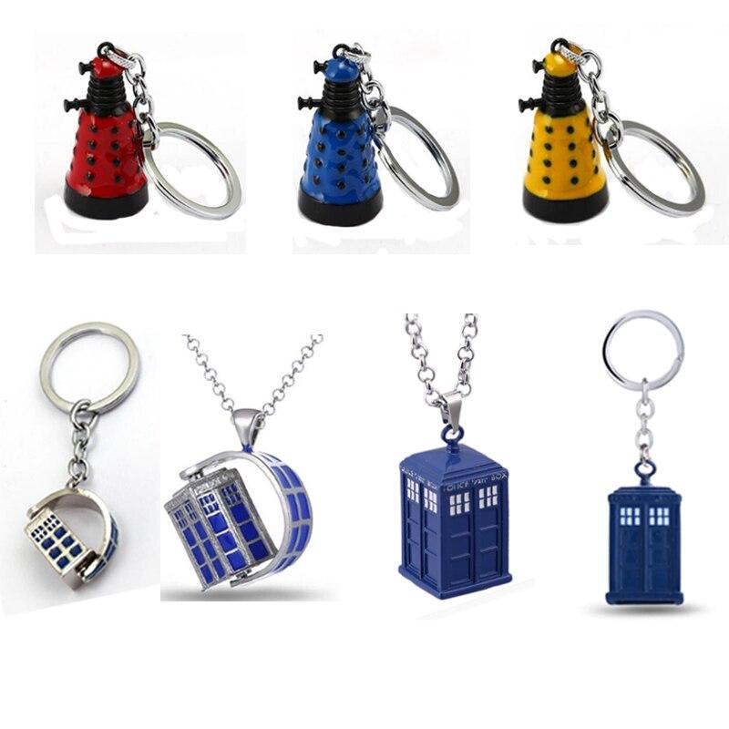 Llavero surtido de Doctor Dalek, llavero de robot alienígena, llavero de Metal azul, llavero de regalo, llavero para hombre, joyería