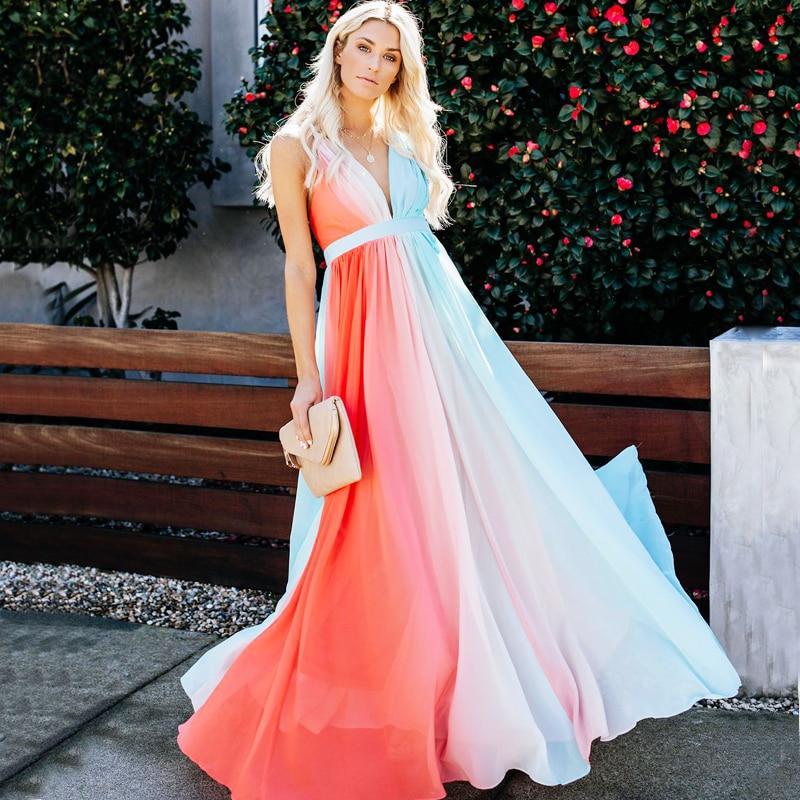 Femmes longs Vestidos dos croisé cravate Maxi robe ombrage dégradé couleur taille haute été tenue de soirée robe de nuit robe dété