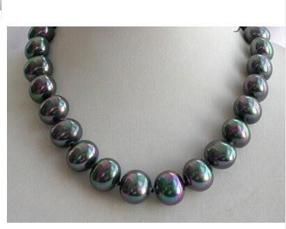 Подлинная большая 16 мм жемчужное ожерелье в стиле барокко черного южного моря в виде ракушек AAA Изысканные бусы ювелирные изделия с металли...