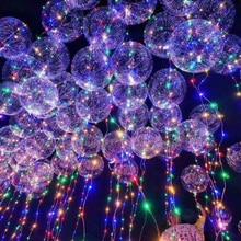 18 inç Disko Topu Işık led balonlar Kabarcık helyum balonları Ile 3 M led ışık Dize Düğün Dekor Noel Süslemeleri