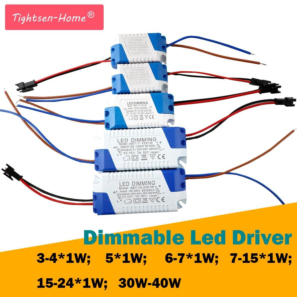 3-40W Dimmable Isolated LED Driver AC85-265V DC3-85V Light Transformer 300mA Power Supply Adapter for 220V 110V Led Lamps bulb