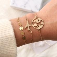 Rinhoo 1 ensemble or minimaliste créatif métal carte du monde avion chaîne de breloques bracelets pour femme accessoires cadeau