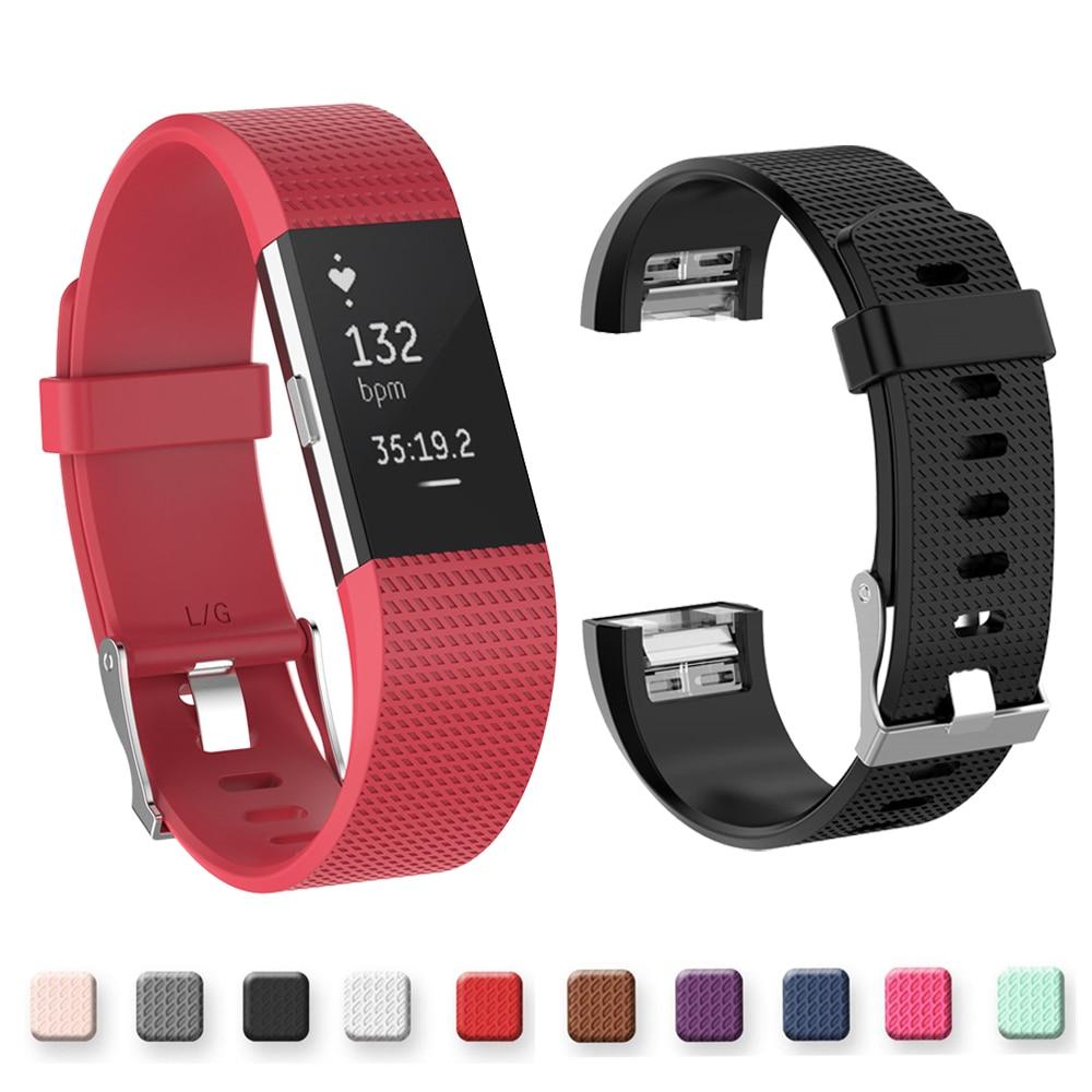 Correa de silicona negra para fitbit charge2 band Fitness pulsera inteligente relojes de reemplazo Correa deportiva para Fitbit Charge 2