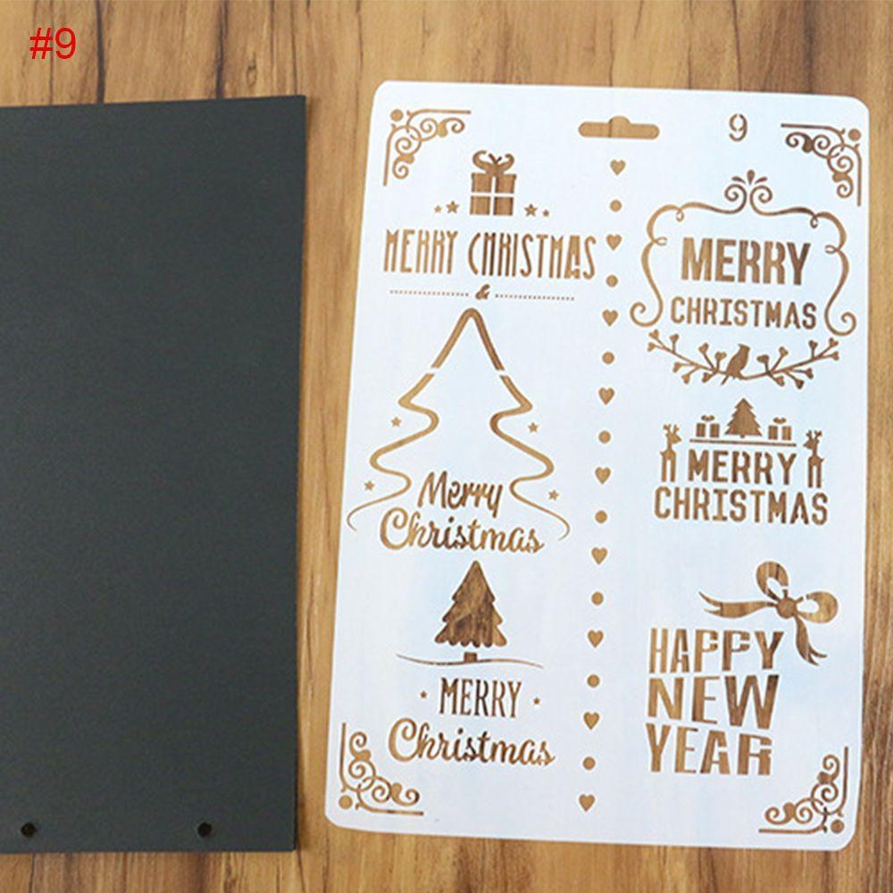 1 Plantilla de pintura de Navidad y Feliz Año Nuevo, plantilla de diario, regalo de Navidad, álbum de recortes, tarjetas DIY, suministros para oficina y escuela