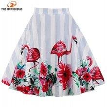 Aovica 15 Style S-4XL Plus Size Design Floral Skirt Women High Waist Ladies Summer Skirts Skater 50s Vintage Saia Midi Skirt