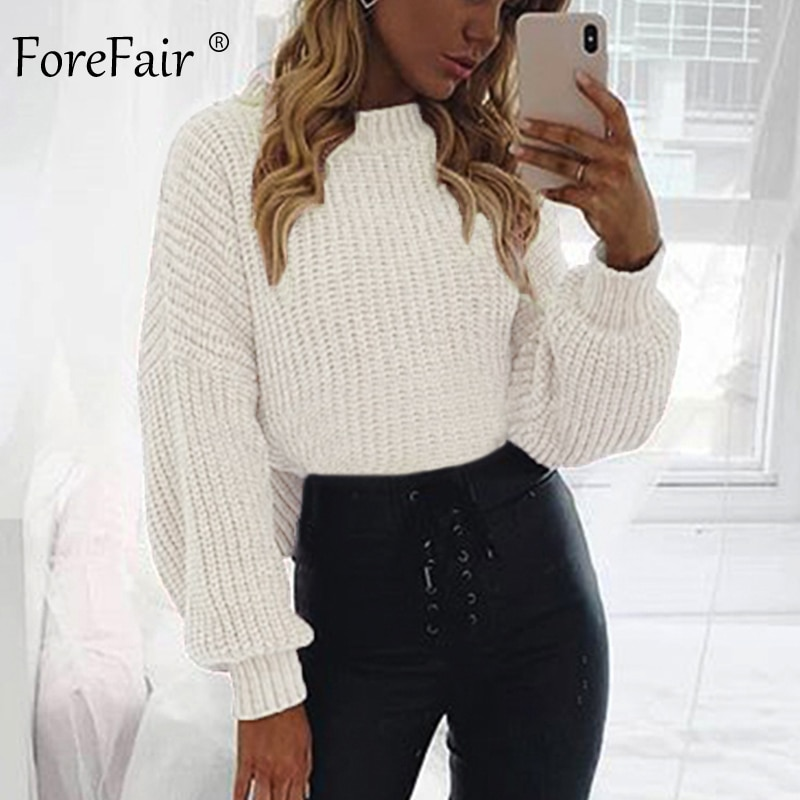 Foreffair casual camisola de gola alta mulher inverno tricô pullovers lanterna manga curta preto branco malha sólida jaqueta feminina