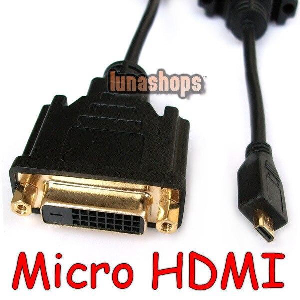 LN002223 Micro HDMI macho a DVI 24 + 1 Adaptador de Cable hembra para EVO 4G XT800 teléfono móvil