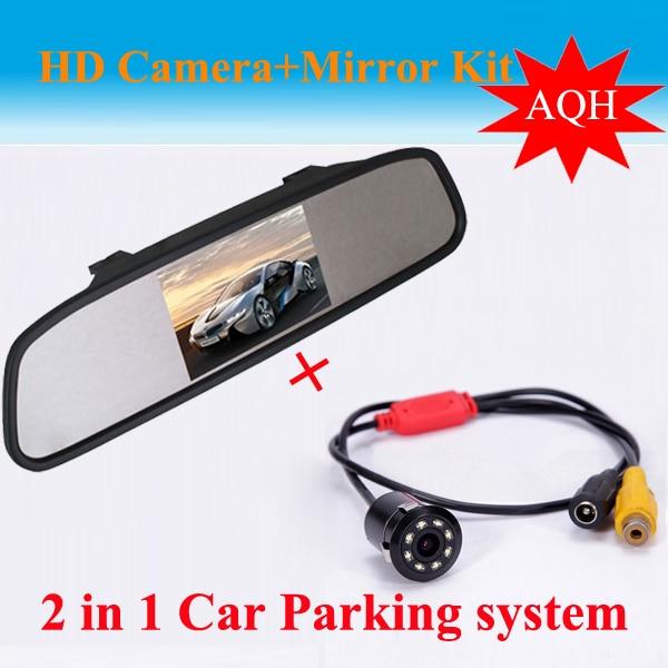 Monitor de vista trasera de espejo de coche TFT LCD de 4,3 pulgadas Universal con Kit de cámara de visión trasera LED de visión trasera de coche de marcha atrás