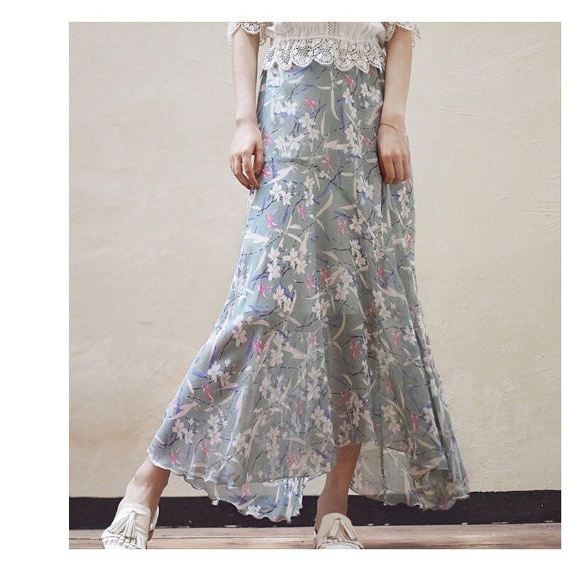 2019 primavera y verano falda de gasa nueva falda Floral falda de cintura alta era delgada Irregular volante una palabra cola de pez