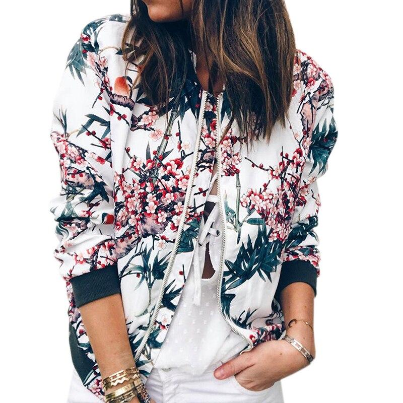 Otoño caliente moda mujer Chaquetas Tops cremallera Up ajustado Retro invierno abrigos básicos chaqueta Floral impreso Femme manga larga GV692