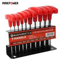 10pcs T-handle Hex Key Allen Wrench Set Non-slip Wrenches Spanner Hand Tools 2mm/2.5mm/3mm/4mm/4.5mm/5mm/5.5mm/6mm/8mm/10mm B4