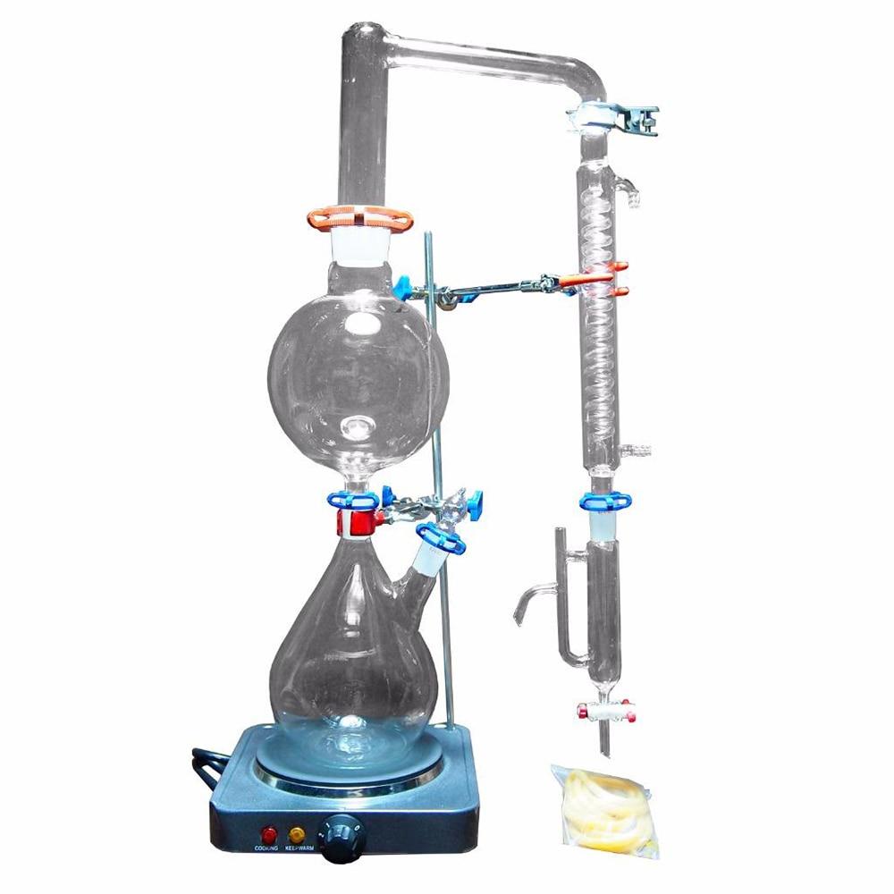 جهاز تقطير البخار بالزيت العطري للمختبر ، جهاز زجاجي جديد لتقطير المياه ، جهاز تنقية مع موقد ساخن ، مكثف غراهام ، 2000 مللي