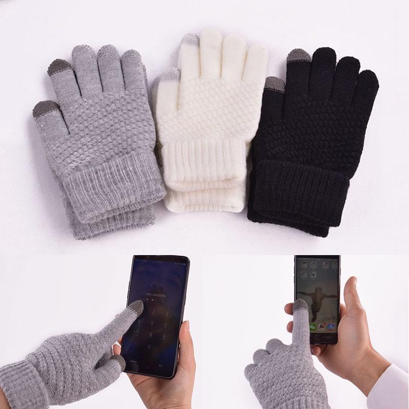 Women Men Winter Gloves Wool Knitted Mittens Unisex Touch Screen Gloves Warm Ladies Full Finger Stripe Glove
