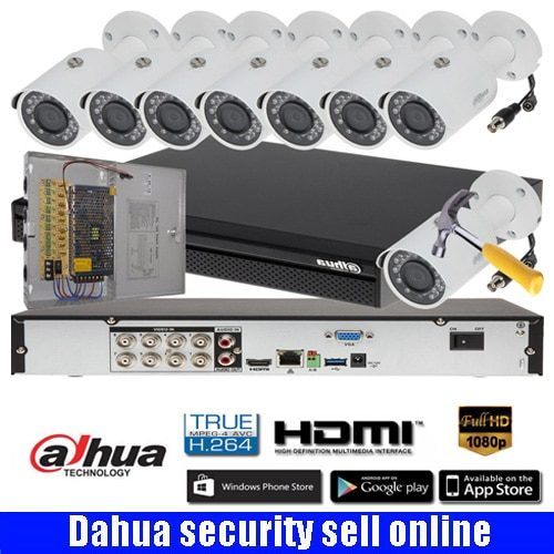 DAHUA DH-XVR7108H 8CH 2MP HDCVI DVR Security System kit with 8pcs DAHUA 2MP Network IR Bullet Camera 2MP Waterproof IP camera