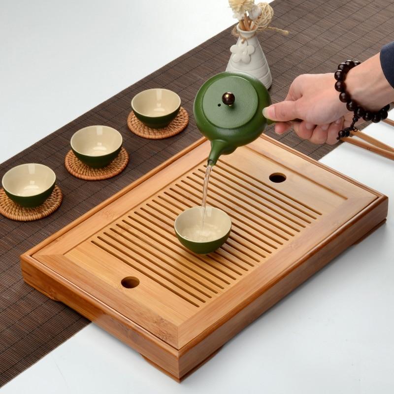 طقم شاي الكونغ فو من الخيزران الطبيعي ، صينية مستطيلة تقليدية ، صينية شاي خشبية ، طاولة شاي تشاهاي