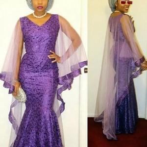 Evening Dresses For Nigerian Women Robe de soiree Abendkleider Elegant Evening Dress Purple Long Lace Formal Evening Gowns