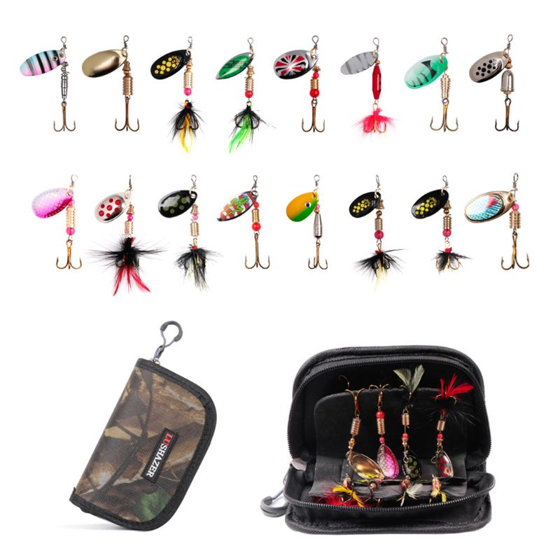 16 Pcs/set Spinning Hooks Fishing Bait Metal Jig Sequins Equipment Bag Freshwater Fish Fake Bionic Baits