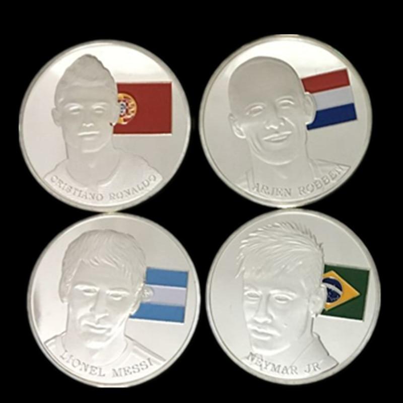 4 pcsThe world cup Football star Messi Ronaldo Robben Neymar silber überzogene farbige fußball sport player souvenir dekoration münze