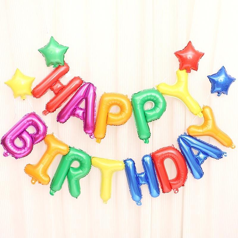 13 pçs/lote Feliz Aniversário balões Decoração Do Partido NOGOO Letras Do Alfabeto balão Da Folha De Alumínio Balão Bebê crianças Balões de ar