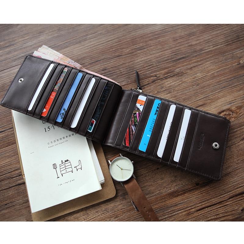 LANSAPCE men's ultra thin long leather wallet brand men wallets handmade wallet case