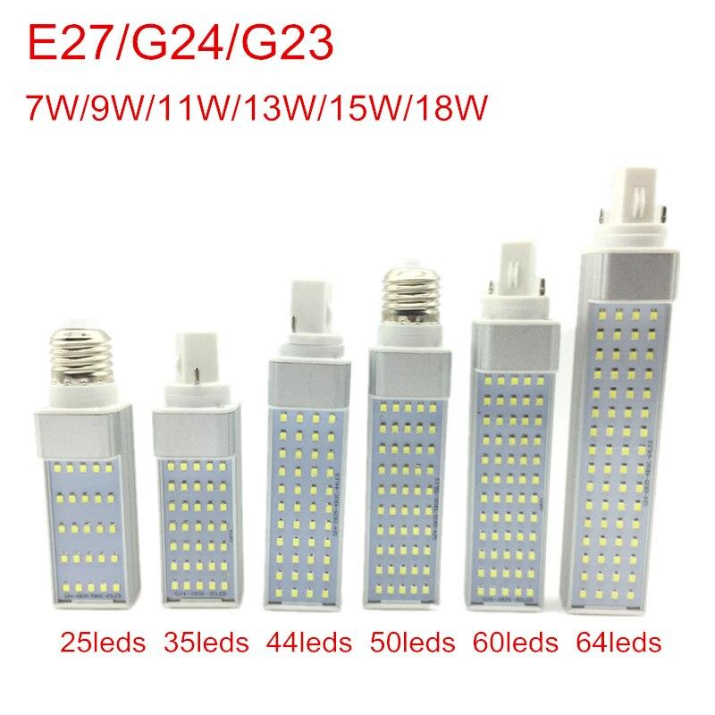 Bombillas LED G24, 7 W, 9 W, 11 W, 13 W, 15 W, 18 W, E27, bombilla LED de mazorca, luz SMD 2835, foco de 180 grados AC85-265V Luz de enchufe horizontal