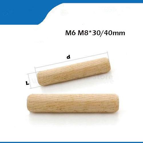 20/50/100 шт, M6/8/* 30/40 мм, деревянный дюбель, ящик для шкафа, круглая рифленая деревянная шпилька, набор стержней, мебельная фурнитура, деревянный дюбель