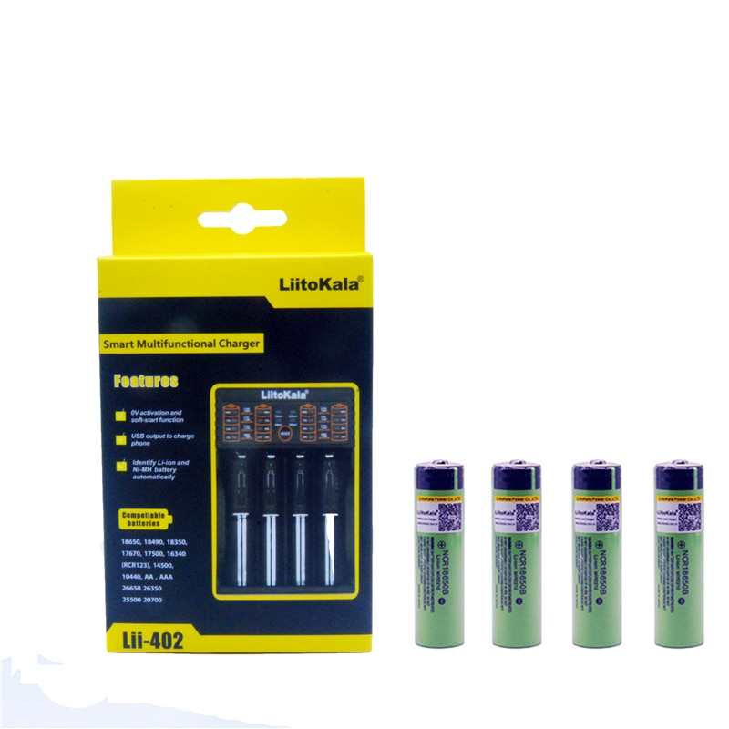 4 шт. Liitokala 3,7 V 3400mAh 18650 литий-ионная аккумуляторная батарея (без PCB) + Lii-402 USB 26650 18650 AAA AA смарт-зарядное устройство