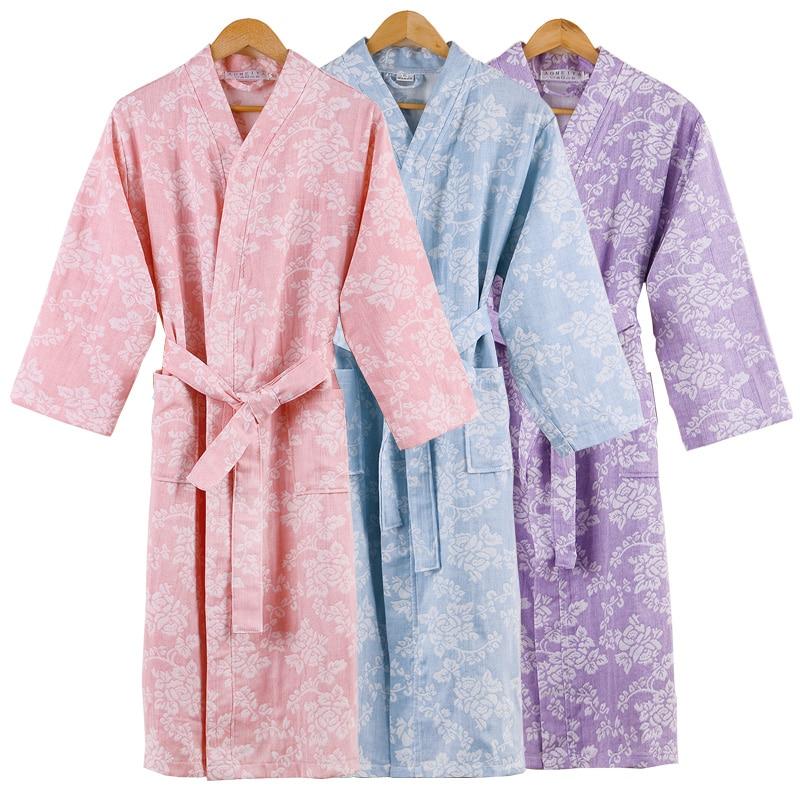 100% bata de algodón para baño para mujer, bata lisa de gasa de doble cubierta para dormir, bata de baño, camisones de Bata, Batas para parejas