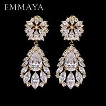 EMMAYA Fashion Classic Lady Gold Color Crystal CZ Zircon Jewelry Crown Drop Earrings For Women Girls Gift Brincos