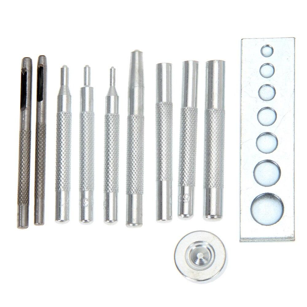 11 unids/set herramienta de artesanía de cuero de Metal troquelado con agujero de remache con cierre de botón Setter Base Kit de costura Artesanal de cuero DIY herramienta