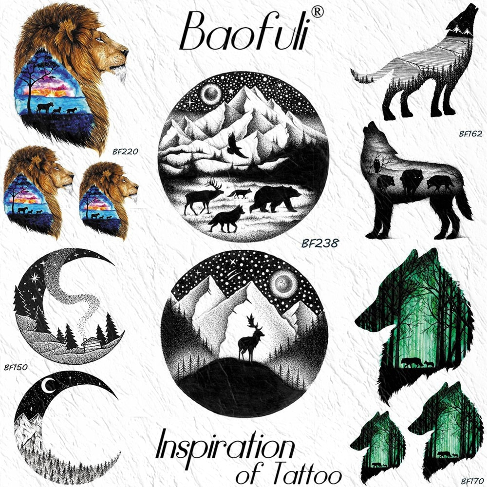 Tatuaje temporal redondo BAOFULI Galaxy Planet oso alce Lobo pegatina árboles águila negro tatuaje montaña falso DIY tatuaje arte corporal para hombres