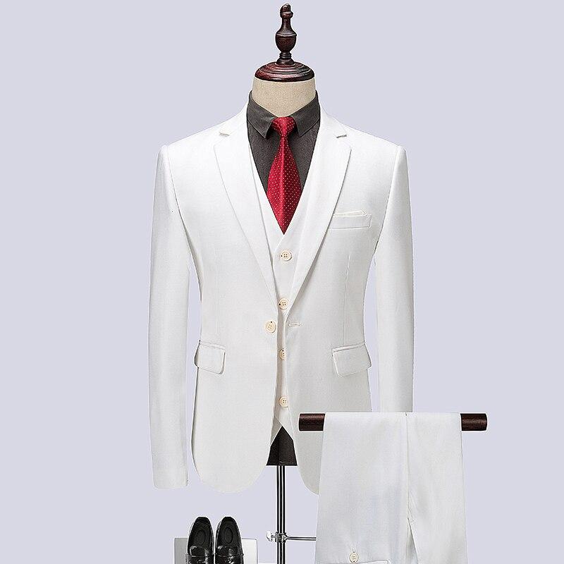 Myazhou 3-piece دعوى الذكور الربيع الرجال الأبيض ، الراقية ماركة نوعية واحدة الصدر الرجال دعوى مجموعات ، الدعاوى التجارية ضئيلة الرجال