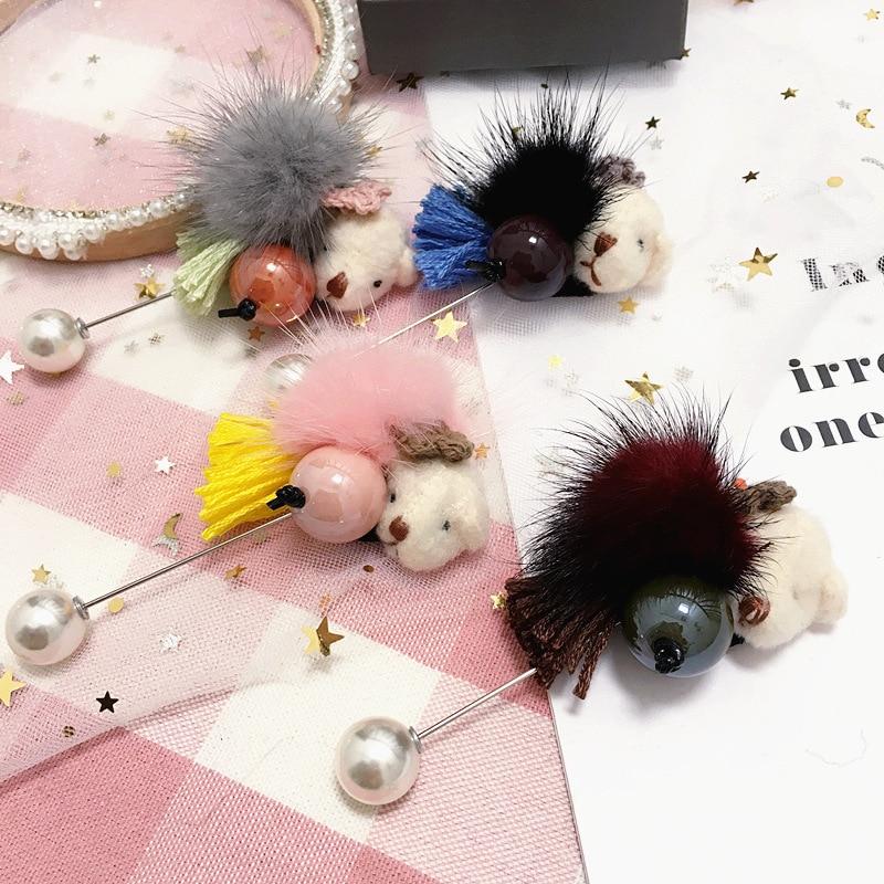Coréia artesanal hairball borla immitation pérola cão crachá broches pinos jóias de moda para a menina mulher Accessories-SWGWBH069F