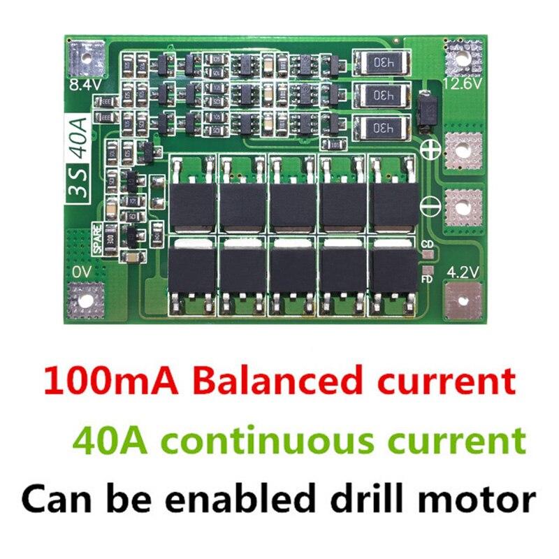 2 pièces 3S 40A Li-ion chargeur de batterie au Lithium carte de Protection BMS avec équilibreur pour moteur de forage 11.1V 12.6V Module de cellule Lipo