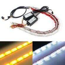 Lámpara decorativa DRL resistente al agua, tira de luces LED Flexible DRL para faros, luces de señal de giro secuencial, 2x DRL