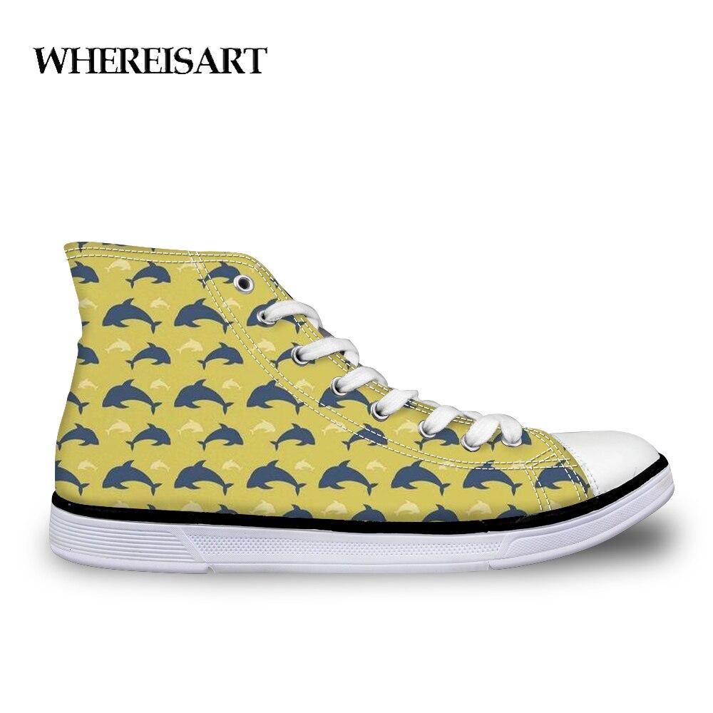WHEREISART Delfín de dibujos animados mujer vulcanizados zapatos de mujer Zapatillas de deporte transpirables Mujer Zapatos de lona zapatos cómodo de gran tamaño 45