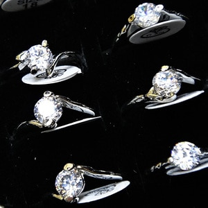 A-017  Wholesale Fashion Jewelry Lots 50pcs 100% Top Clear Cubic Zircon Mix Charming Woman Engagement Rings