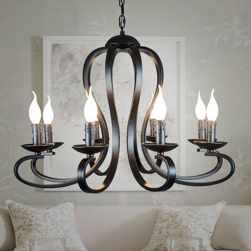 Nordic americano coutry estilo moderno vela lustre luminárias vintage branco/preto ferro forjado iluminação para casa e14