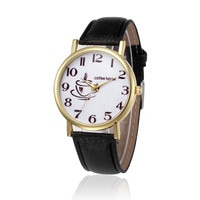 Retro Design Women Watches Hand Drawn Coffee Cup Dial PU Leather Simple Gold Frame Quartz Ladies Wrist Watch relojes para mujer