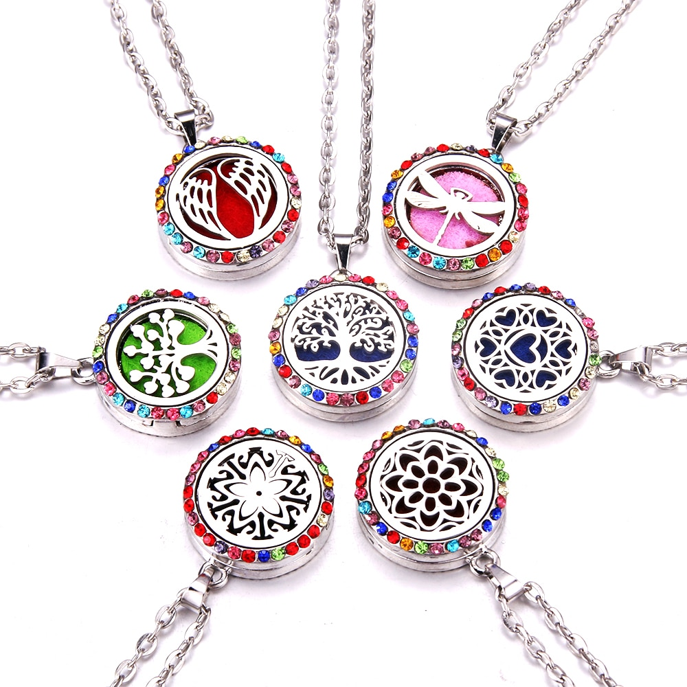 10 unids/lote color Zircon Aroma medallón collar de acero magnético de aceite esencial de aromaterapia difusor medallón Perfume colgante de joyería