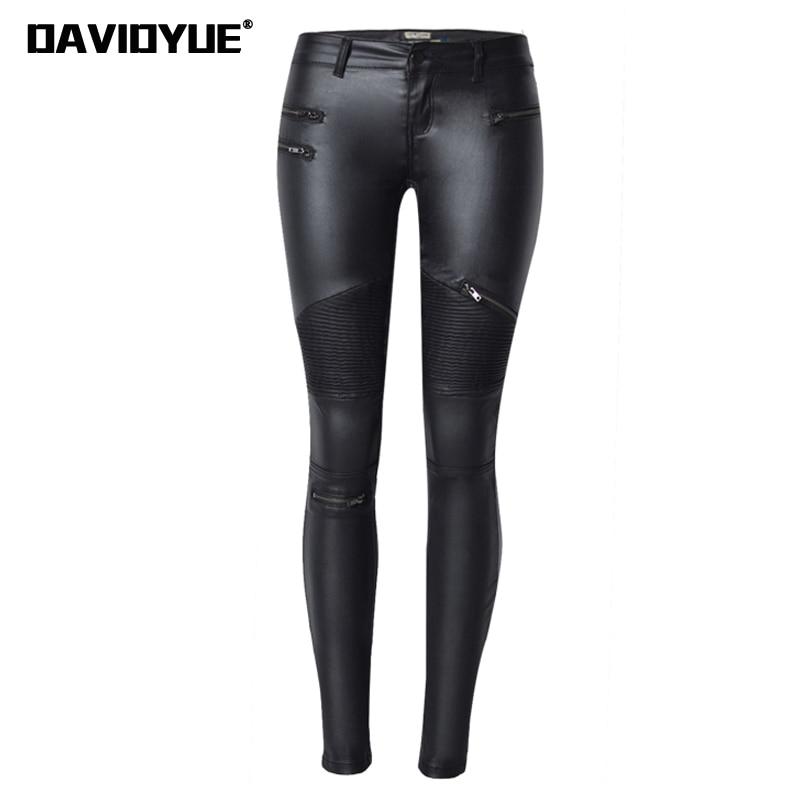 Pantalones largos sexis de invierno 2018 para mujer, de piel sintética, pantalones negros con cremallera, ceñido traje elástico, diseño de telas combinadas con plisado punk rock para mujer