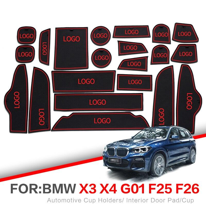 Portão slot pad Para BMW X3 X4 ZUNDUO X5 X6 2011-2018 F48 F25 F26 F15 F16 g01 Interior suportes para Copos Não-slip mats Pad porta Do Carro