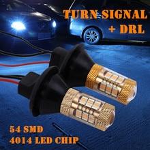 2 uds 1156 p21w py21w 54smd LED T20 W21W 7440 luz 4014 LED Chip Luz de circulación diurna + señal de giro Dual modo DRL CANBUS LED